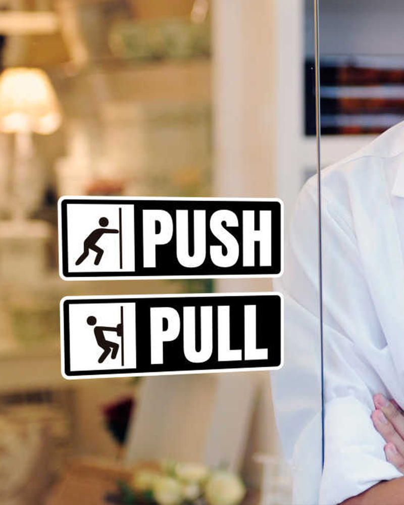 Door Sign Sticker - Push & Pull